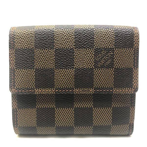 LOUIS VUITTON/ルイヴィトン ホック式 財布 ポルトフォイユ エリーズ N61652 ダミエ エベヌ 全体の写真