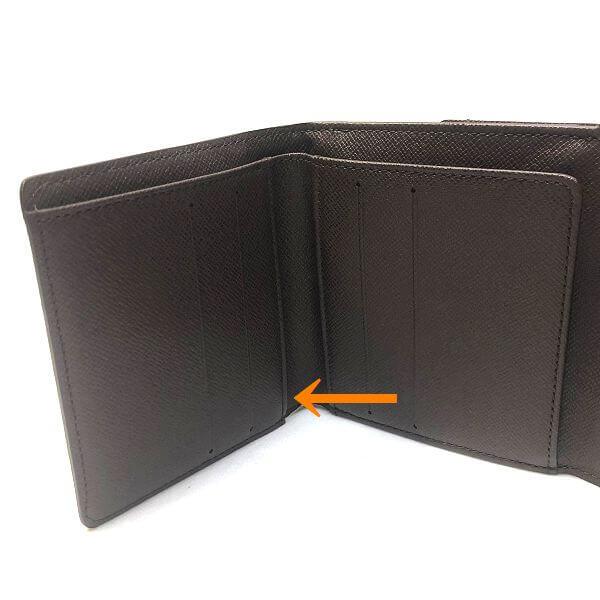 LOUIS VUITTON/ルイヴィトン ホック式 財布 ポルトフォイユ エリーズ N61652 ダミエ エベヌ シリアルの場所(引きの画像)