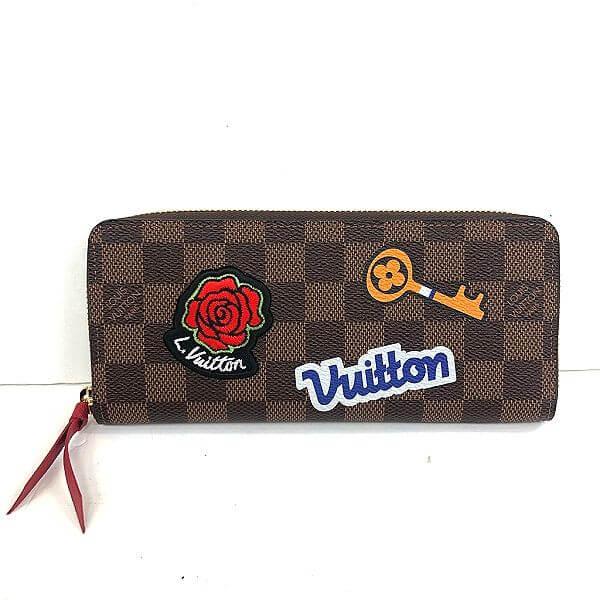 LOUIS VUITTON/ルイヴィトン ラウンドファスナー 財布 ポルトフォイユ クレマンス N60147 ダミエ 全体の写真