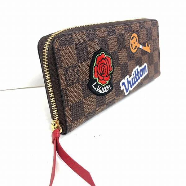 LOUIS VUITTON/ルイヴィトン ラウンドファスナー 財布 ポルトフォイユ クレマンス N60147 ダミエ 側面の写真