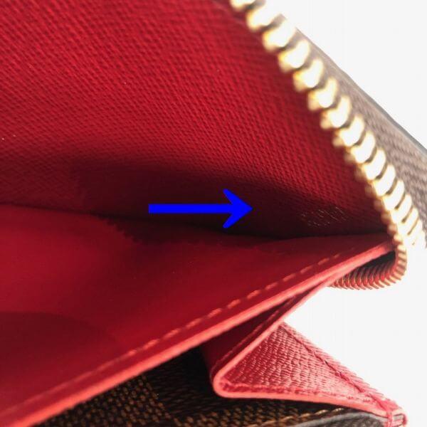 LOUIS VUITTON/ルイヴィトン ラウンドファスナー 財布 ポルトフォイユ クレマンス N60147 ダミエ シリアルの場所(寄りの画像)