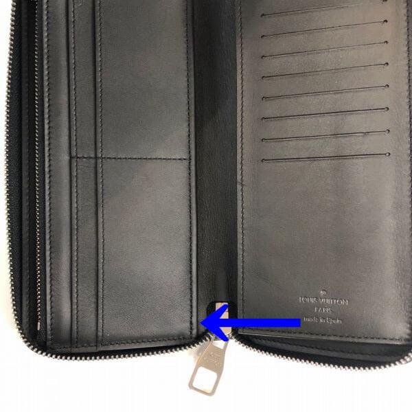 LOUIS VUITTON/ルイヴィトン ラウンドファスナー 財布 ジッピーウォレット ヴェルテイカル N63548 ダミエ アンフィニ シリアルの場所(引きの画像)