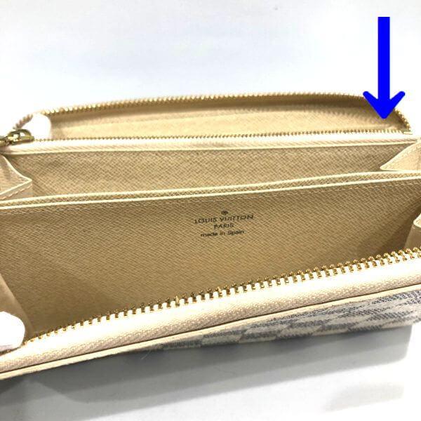 LOUIS VUITTON/ルイヴィトン ラウンドファスナー 財布 ジッピーウォレット N41660 ダミエ シリアルの場所(引きの画像)