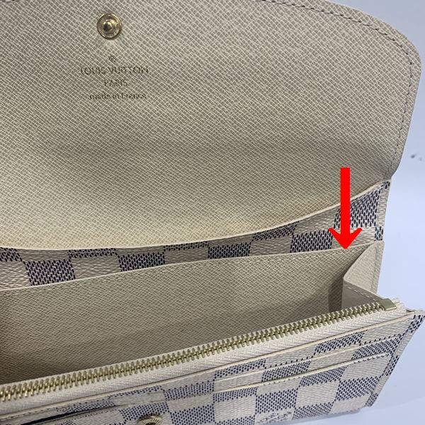 LOUIS VUITTON/ルイヴィトン ホック式 財布 ポルトフォイユ・エミリー N63546 ダミエ シリアルの場所(引きの画像)