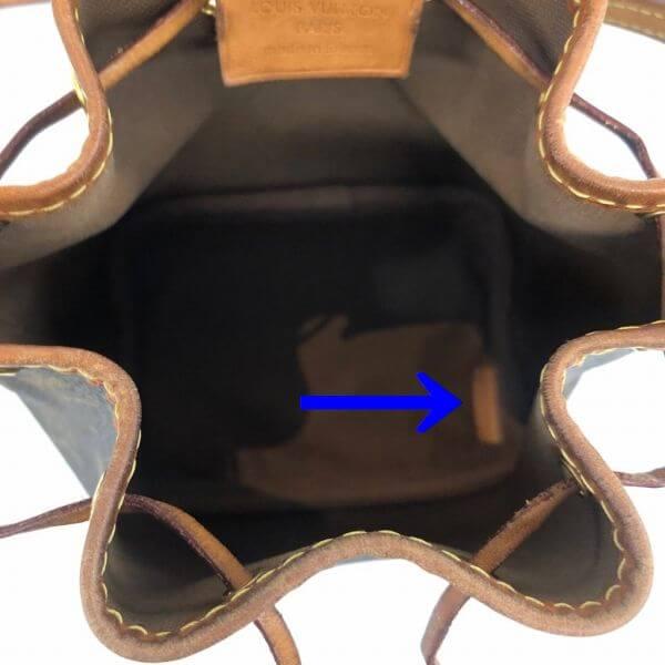 LOUIS VUITTON/ルイヴィトン ショルダーバッグ ナノ ノエ M41346 モノグラム シリアルの場所(引きの画像)