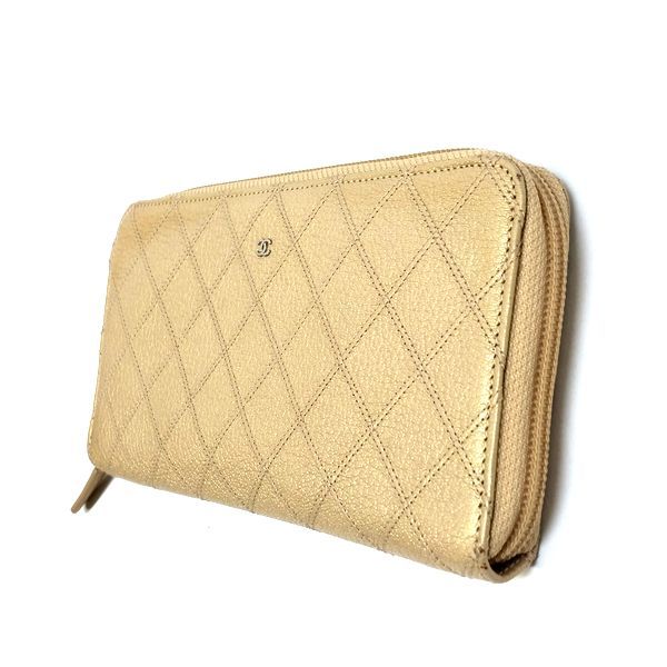 CHANEL/シャネル ラウンドファスナー 財布 ジップウォレット 長財布 *** マトラッセ 側面の写真