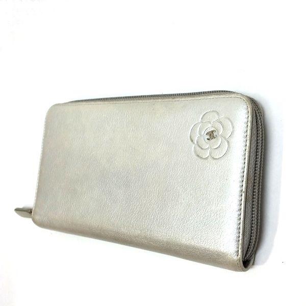CHANEL/シャネル ラウンドファスナー 財布 ジップウォレット 長財布 *** カメリア 側面の写真